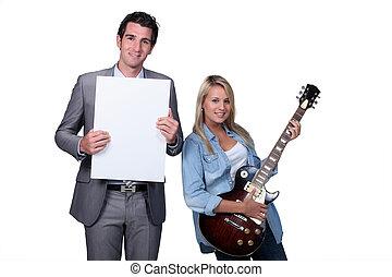 gitaar, les, tiener, blonde