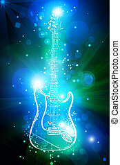 gitaar, licht, neon, elektrisch, stippen