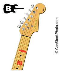 gitaar, majoor, snaar, b