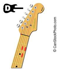 gitaar, majoor, snaar, d
