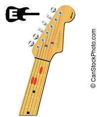 gitaar, majoor, snaar, e