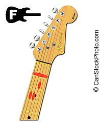 gitaar, majoor, snaar, f
