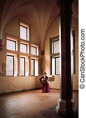 gitaar, malbork, vrouw, spelend, castle.