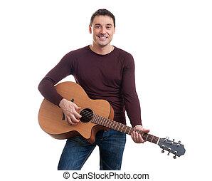 gitaar, man, spelend, jonge