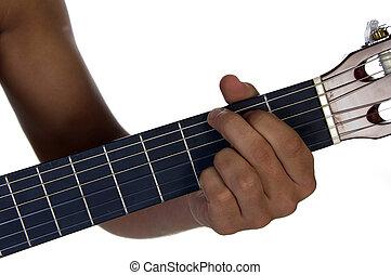 gitaar, mannelijke , spelend, hand