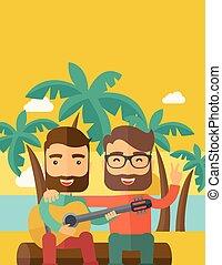 gitaar, mannen, strand, twee, spelend