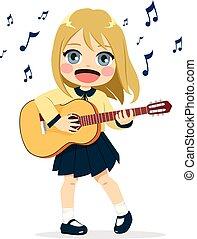 gitaar, meisje, spelend