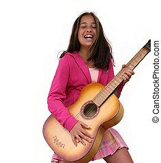 gitaar, meisje
