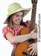 gitaar, meisje, vrolijke