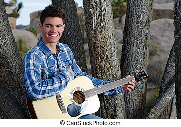 gitaar, model, mannelijke