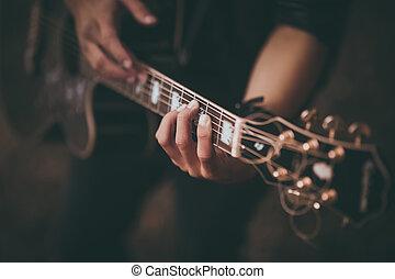 gitaar, nee, spelend, man confronteren