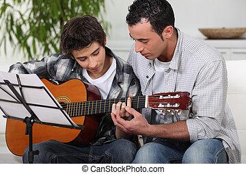 gitaar, onderwijs, vader, zoon
