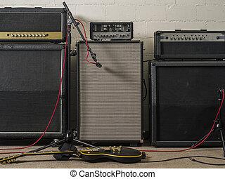 gitaar, opnamestudio, versterkers