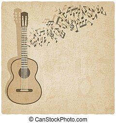 gitaar, ouderwetse , muziek, achtergrond