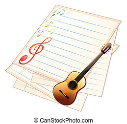gitaar, papier, muziek, lege
