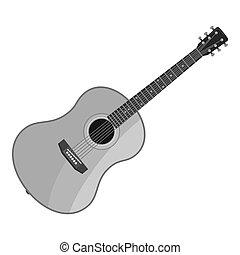 gitaar, pictogram, stijl, grijs, monochroom