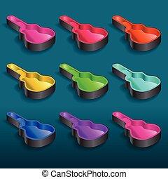 gitaar, regenboog, gevallen, negen
