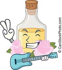 gitaar, roos, vorm, olie, spotprent