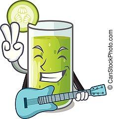 gitaar, sap, komkommer, heerlijk, tafel, spotprent
