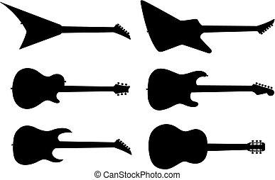 gitaar, silhouettes