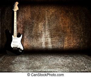 gitaar, staal, kamer