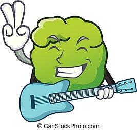 gitaar, stijl, mascotte, struik, spotprent