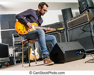 gitaar, studio, elektrisch, spelend