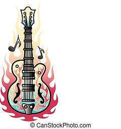gitaar, tatoeëren, ontwerp, kunst, vlammen