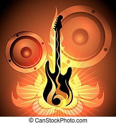 gitaar, thema, het vlammen, muziek