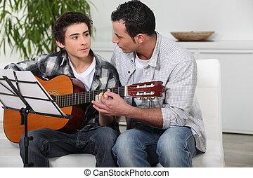 gitaar, tiener, vader, spelend, zoon