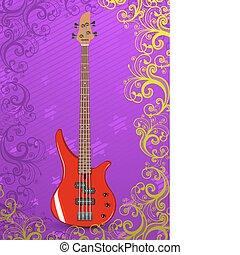 gitaar, vector, baars, illustratie