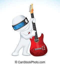 gitaar, vector, man, 3d