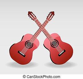 gitaar, vector, twee, illustratie