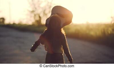 gitaar, vertragen, tarwe, meisje, akker, mooi, motion.,...