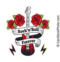gitaar, voor altijd, vector, rock-n-roll, illustratie
