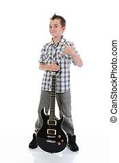 gitaar, weinig; niet zo(veel), musicus, spelend