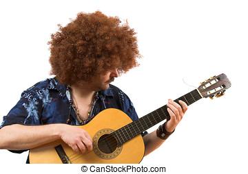 gitaar, zijn, oud, hippie, spelend