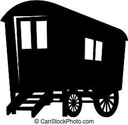 gitan, caravane, chariot, silhouette, vecteur