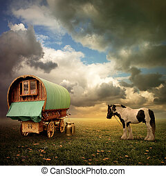 gitan, chariot, caravane