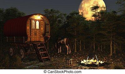 gitan, chariot, dans, les, clair lune