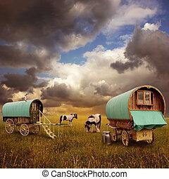 gitan, chariots, caravanes
