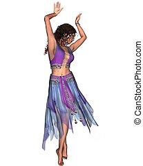 gitan, danseur, dans, bleu, jupe