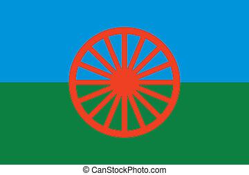 gitan, drapeau, vecteur, -, (roma)