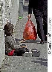 gitan, enfant, mendiant