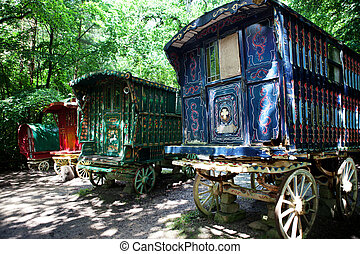 gitan, forêt, charrette, caravane