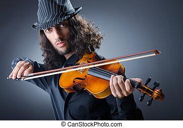 gitan, joueur violon, dans, studio