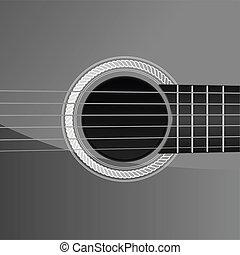 gitara, akustyczny, szczegół