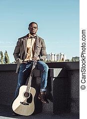 gitara, amerykanka, człowiek, poddasze, afrykanin