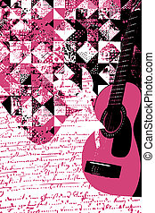 gitara, barwny, muzyka, ilustracja
