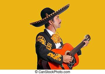 gitara, charro, mariachi, interpretacja, żółty
